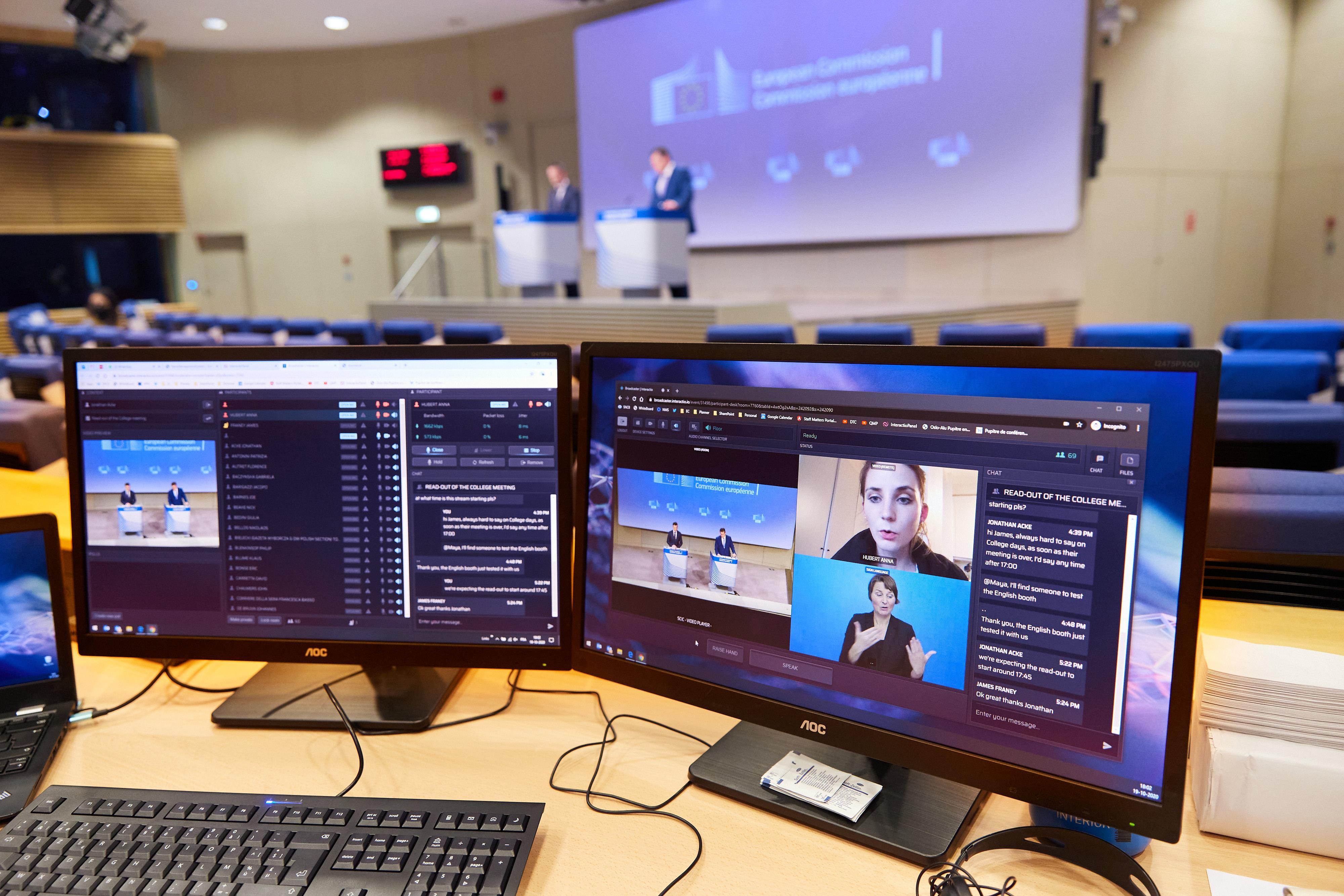 Euroopan komission tiedotustilaisuus 19. lokakuuta 2020. Kuva: Euroopan unioni 2020