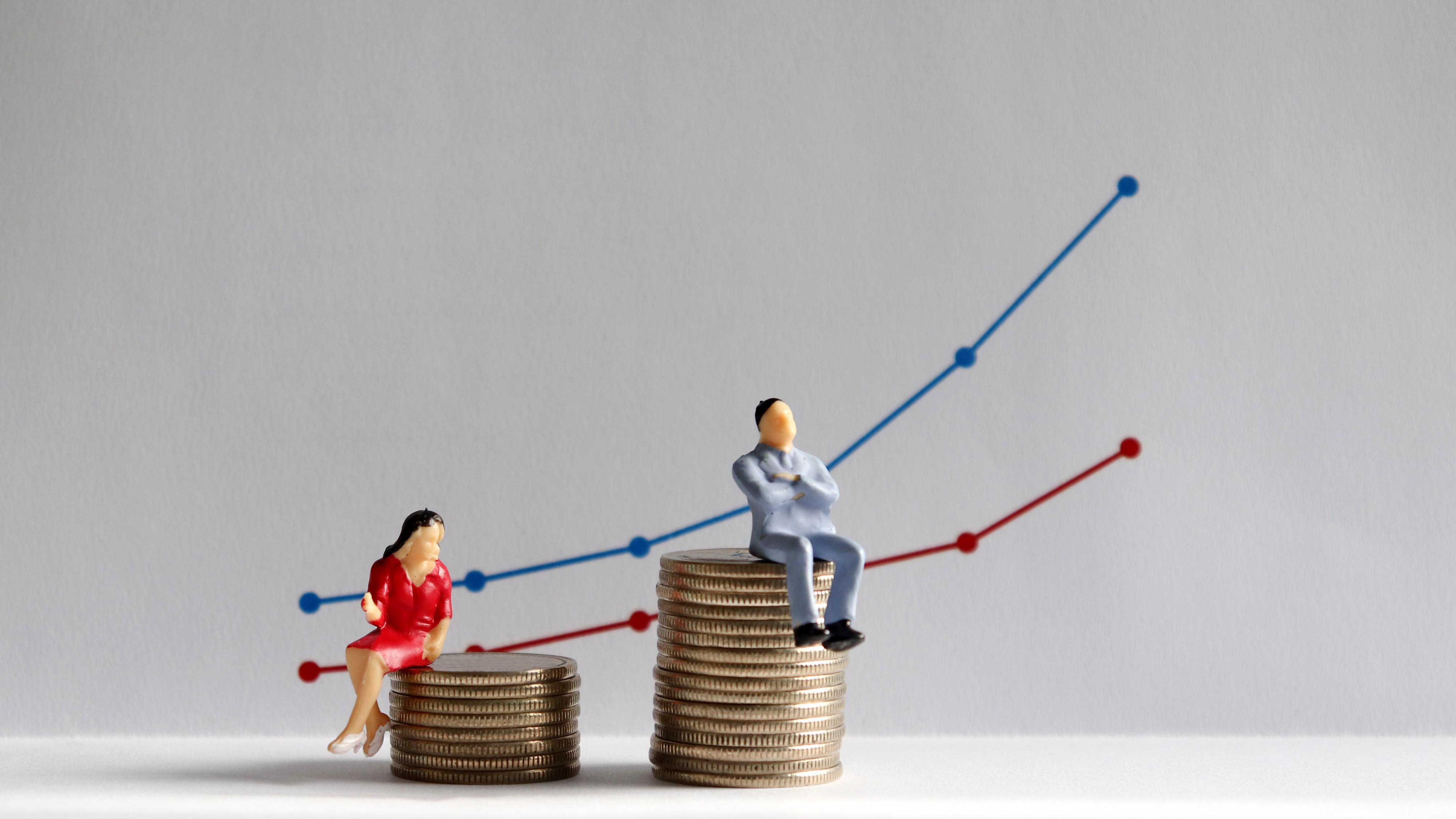 Sukupuolten välistä palkkaeroa kuvaavat sininen ja punainen tilastokäyrä. Miniatyyriset mies ja nainen istumassa kolikkopinojen päällä.