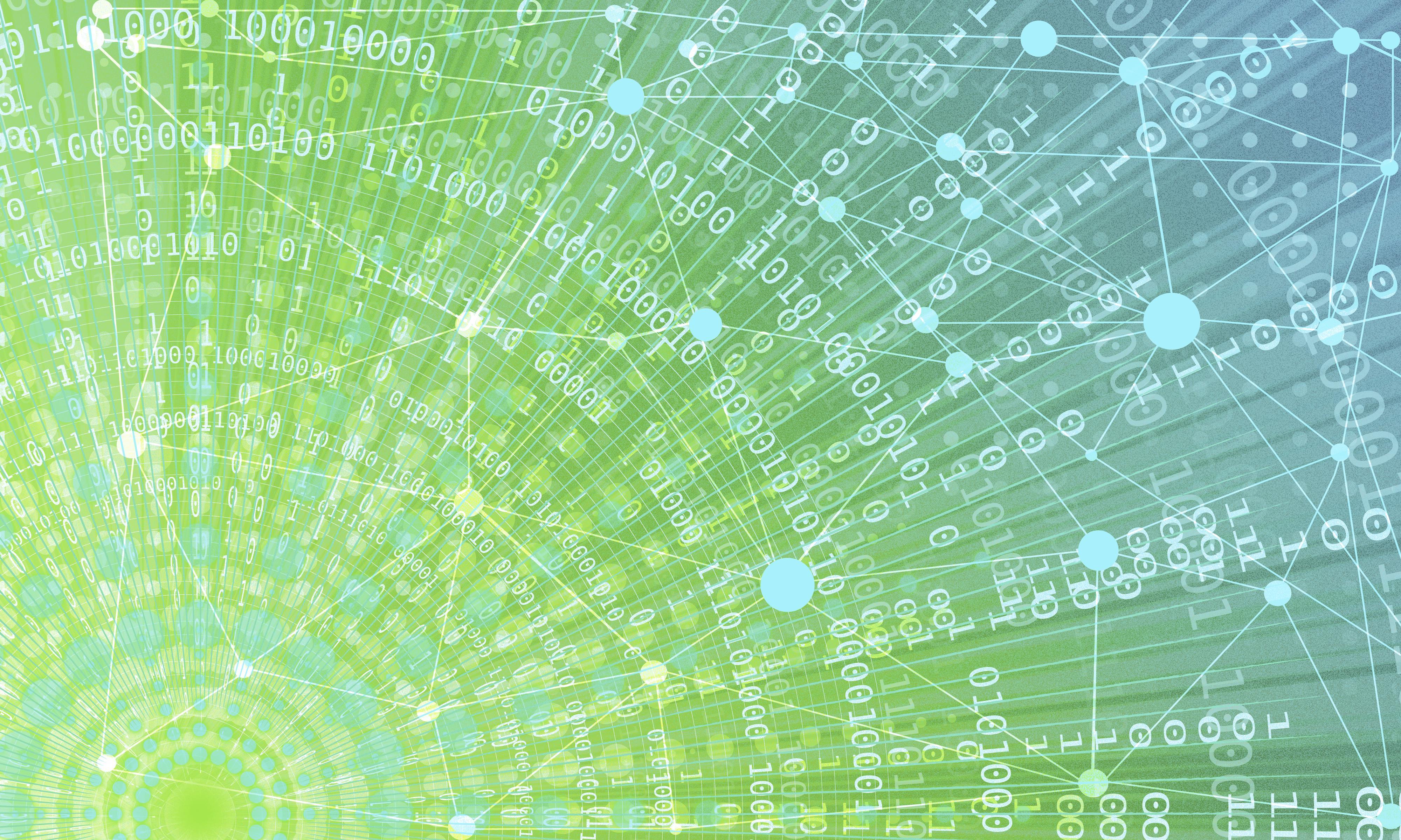Kuvituskuva, bittejä ja numeroita mandalan muodossa sinivihreällä taustalla